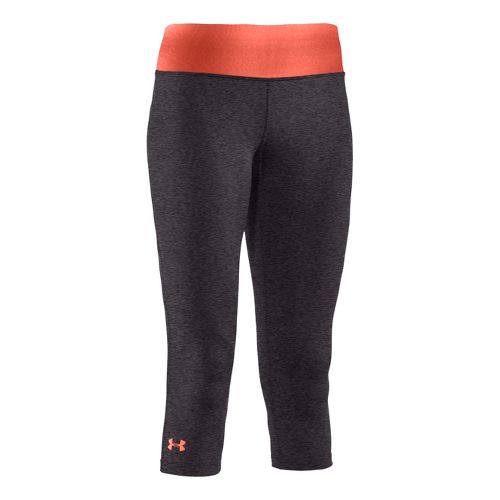 Womens Under Armour Sonic Capri Tights - Carbon Heather/Electric Tangerine XS