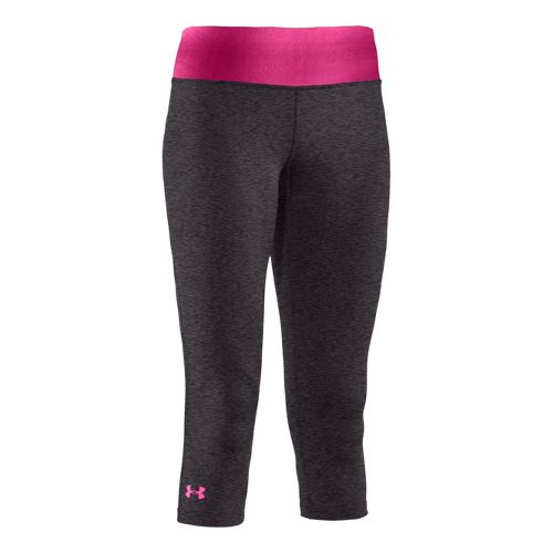 Womens Under Armour Sonic Capri Tights - Carbon Heather/Pinkadelic L