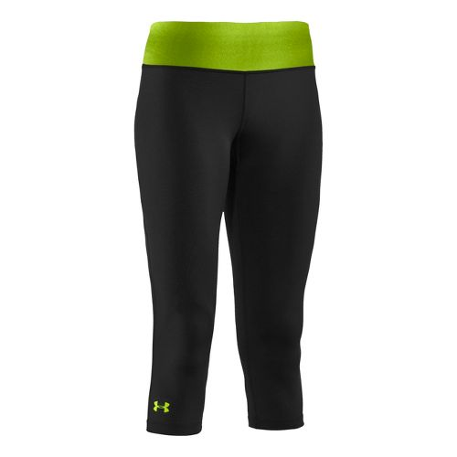 Womens Under Armour Sonic Capri Tights - Hyper Green/Hyper Green XL
