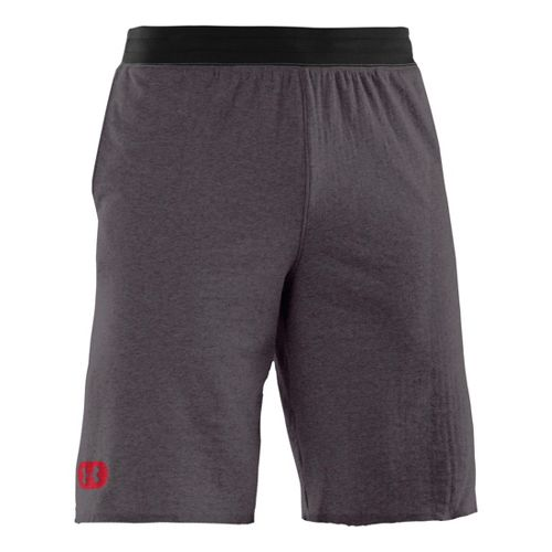 Mens Under Armour Charged Cotton Contender Unlined Shorts - Carbon Heather/Red L