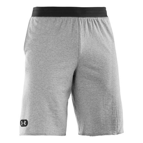 Mens Under Armour Charged Cotton Contender Unlined Shorts - True Grey Heather/Black L