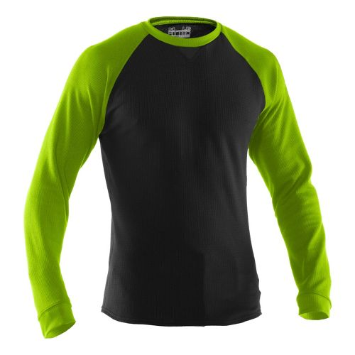 Mens Under Armour Thermal Crew 2.0 Long Sleeve No Zip Technical Tops - Black/Hyper Green ...