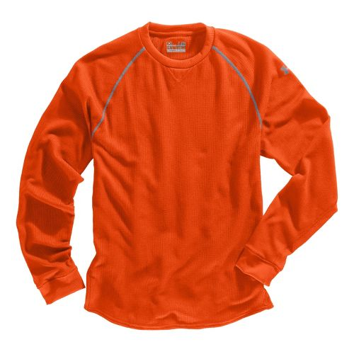 Mens Under Armour Thermal Crew 2.0 Long Sleeve No Zip Technical Tops - Explosive/Aluminum S ...