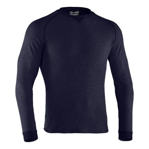 Mens Under Armour Thermal Crew 2.0 Long Sleeve No Zip Technical Tops - Midnight Navy/Aluminum ...