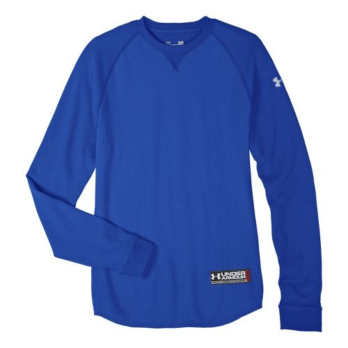 Mens Under Armour Thermal Crew 2.0 Long Sleeve No Zip Technical Tops - Moon Shadow/Aluminum ...