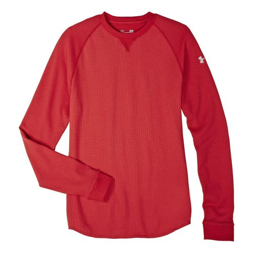 Mens Under Armour Thermal Crew 2.0 Long Sleeve No Zip Technical Tops - Red/Aluminum S ...