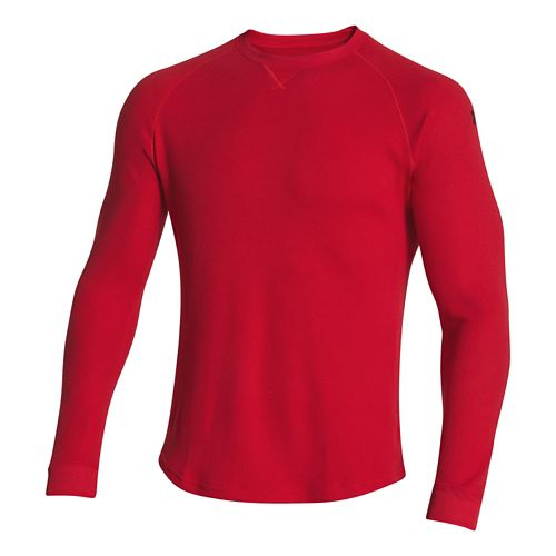 Mens Under Armour Thermal Crew 2.0 Long Sleeve No Zip Technical Tops - Red/Black M ...