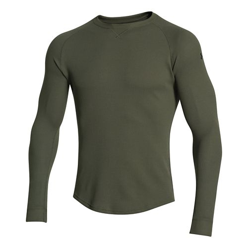 Mens Under Armour Thermal Crew 2.0 Long Sleeve No Zip Technical Tops - Rough/Black XL ...