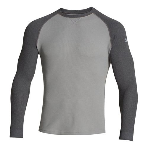 Mens Under Armour Thermal Crew 2.0 Long Sleeve No Zip Technical Tops - True Grey ...