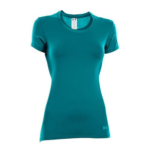 Womens Under Armour Sonic See It Through Short Sleeve Technical Tops - Cerulean/Cerulean S