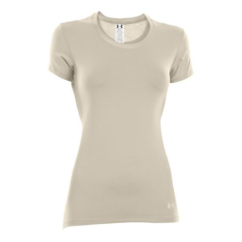 Womens Under Armour Sonic See It Through Short Sleeve Technical Tops - Tusk/Tusk L