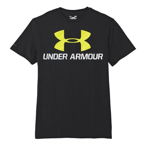 Mens Under Armour Sportstyle III Logo T Short Sleeve Non-Technical Tops - Black/High Vis Yellow ...