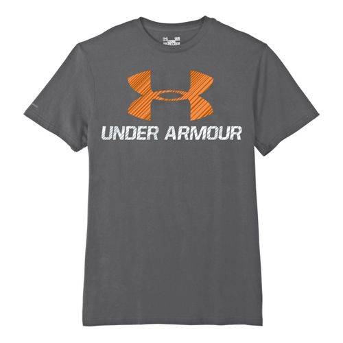 Mens Under Armour Sportstyle III Logo T Short Sleeve Non-Technical Tops - Graphite/Orange S