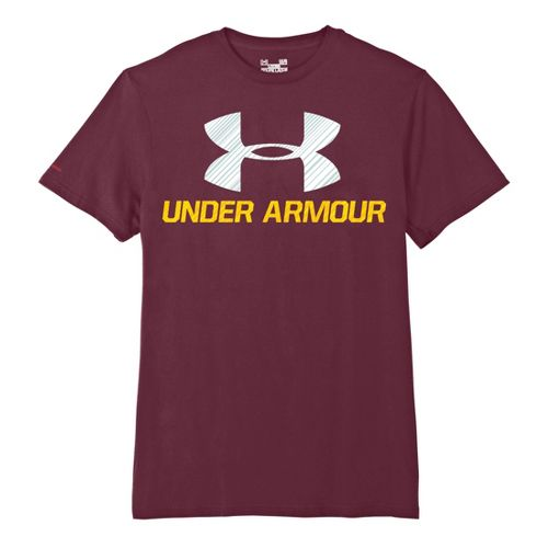 Mens Under Armour Sportstyle III Logo T Short Sleeve Non-Technical Tops - Maroon/White XXL