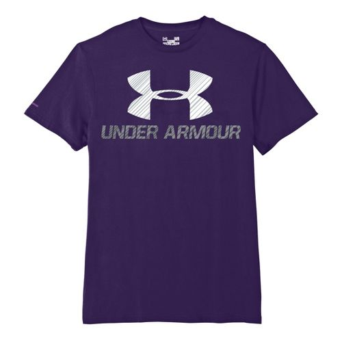 Mens Under Armour Sportstyle III Logo T Short Sleeve Non-Technical Tops - Purple/White M