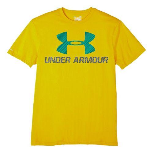 Mens Under Armour Sportstyle III Logo T Short Sleeve Non-Technical Tops - Solar/Plantation XL