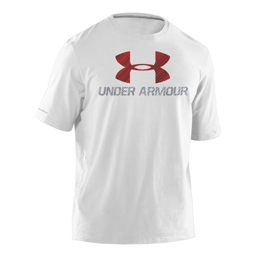 Mens Under Armour Sportstyle III Logo T Short Sleeve Non-Technical Tops - White/Maroon XL