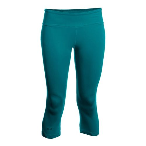 Womens Under Armour Sonic See It Thru Capri Tights - Cerulean/Cerulean L