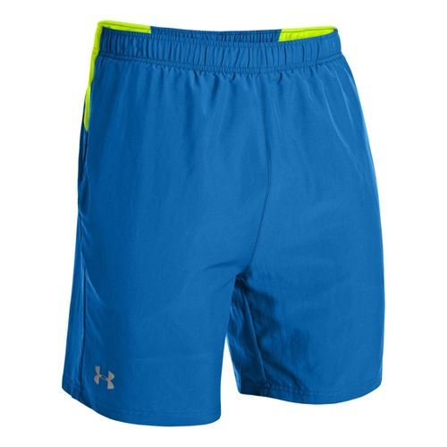Mens Under Armour Sixth Man 2-in-1 Shorts - Superior Blue/High Vis Yellow S