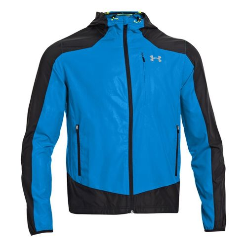 Mens Under Armour Imminent Running Jackets - Black/Electric Blue L