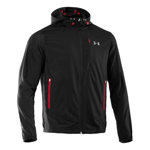 Mens Under Armour Imminent Running Jackets - Black/Red L