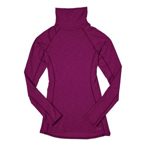 Womens Under Armour ColdGear Cozy Neck Long Sleeve No Zip Technical Tops - Aubergine/Aubergine ...