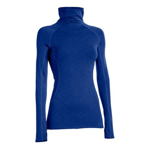 Womens Under Armour ColdGear Cozy Neck Long Sleeve No Zip Technical Tops - Blu-Away/Blu-Away L ...