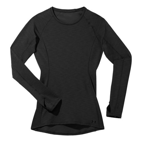 Womens Under Armour ColdGear Cozy Crew Long Sleeve No Zip Technical Tops - Black/Black L ...