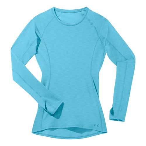 Womens Under Armour ColdGear Cozy Crew Long Sleeve No Zip Technical Tops - Tobago/Tobago L ...