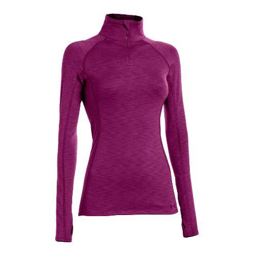 Womens Under Armour ColdGear Cozy Long Sleeve 1/2 Zip Technical Tops - Aubergine/Aubergine S
