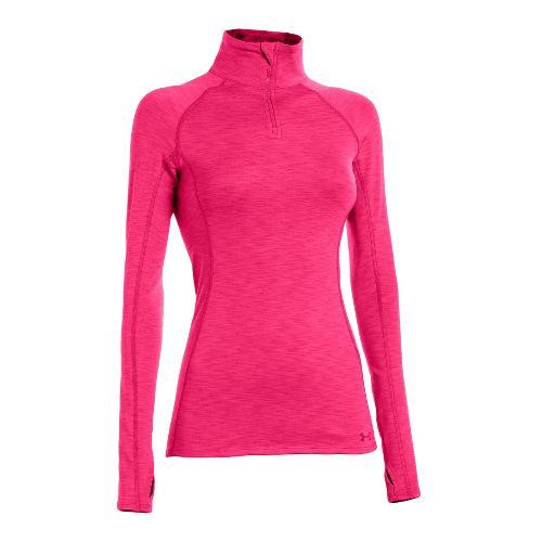Womens Under Armour ColdGear Cozy Long Sleeve 1/2 Zip Technical Tops - Pinkadelic/Pinkadelic XL