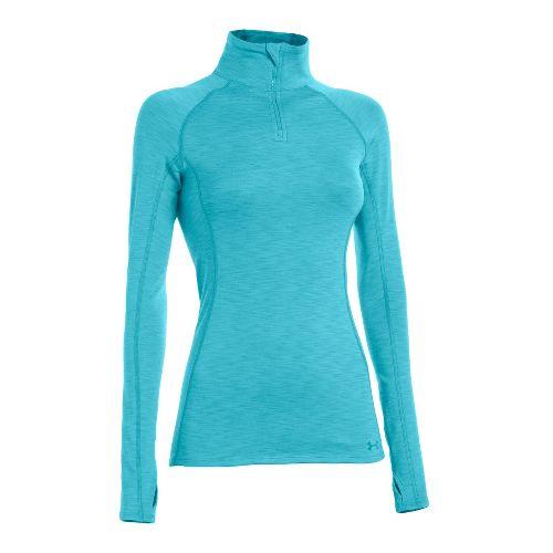 Womens Under Armour ColdGear Cozy Long Sleeve 1/2 Zip Technical Tops - Tobago/Tobago L