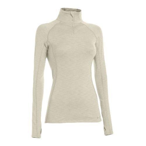 Womens Under Armour ColdGear Cozy Long Sleeve 1/2 Zip Technical Tops - Tusk/Tusk S
