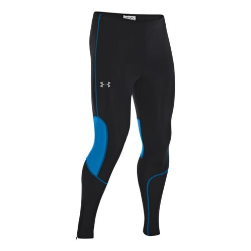 Mens Under Armour Dynamic Run Compression Fitted Tights - Black/Electric Blue XL
