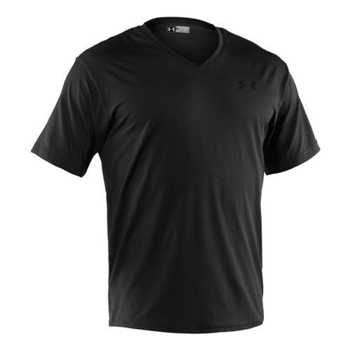 Mens Under Armour The Original Fitted V-Neck Short Sleeve Technical Tops - Black/Clear XXL
