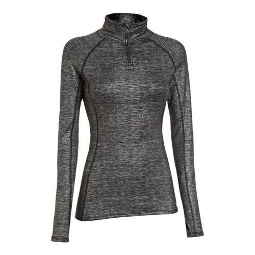 Womens Under Armour ColdGear Cozy Shimmer Long Sleeve 1/2 Zip Technical Tops - Metallic ...