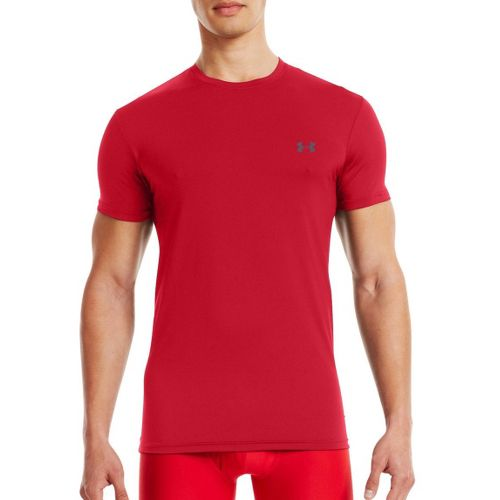 Mens Under Armour HeatGear Flyweight Crew Undershirt Short Sleeve Technical Tops - Red/Graphite S