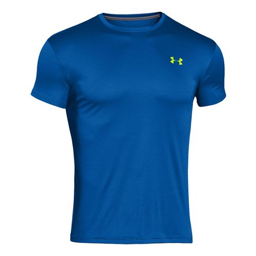 Mens Under Armour HeatGear Flyweight Crew Undershirt Short Sleeve Technical Tops - Scatter/Alpine S