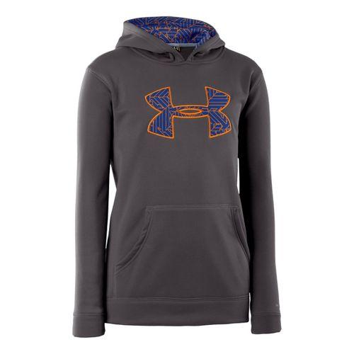 Kids Under Armour Boys Armour Fleece Storm Big Logo Hoody Long Sleeve No Zip Technical ...