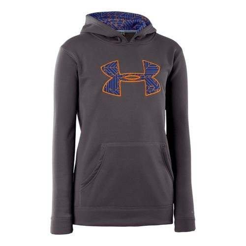 Kids Under Armour Boys Armour Fleece Storm Big Logo Hoody Long Sleeve No Zip Technical ...