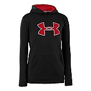 Kids Under Armour Boys Armour Fleece Storm Big Logo Hoody Long Sleeve No Zip Technical Tops