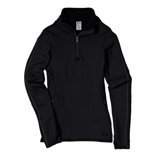 Womens Under ArmourStretch ColdGear 1/4 Zip Long Sleeve Technical Tops - Black/Black M