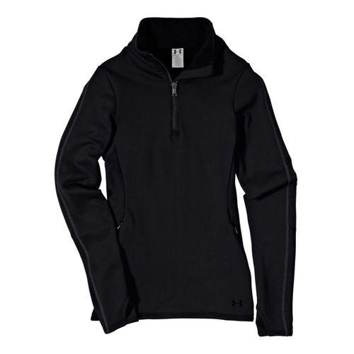 Womens Under ArmourStretch ColdGear 1/4 Zip Long Sleeve Technical Tops - Black/Black XL