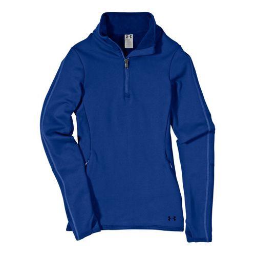 Womens Under ArmourStretch ColdGear 1/4 Zip Long Sleeve Technical Tops - Blu-Away/Blu-Away S