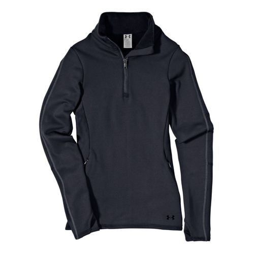 Womens Under ArmourStretch ColdGear 1/4 Zip Long Sleeve Technical Tops - Lead/Lead L