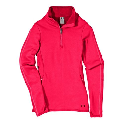 Womens Under ArmourStretch ColdGear 1/4 Zip Long Sleeve Technical Tops - Neo Pulse/Neo Pulse S ...