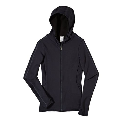 Womens Under Armour ArmourStretch ColdGear Scuba Warm-Up Hooded Jackets - Black/Black S