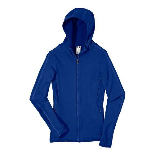 Womens Under Armour ArmourStretch ColdGear Scuba Warm-Up Hooded Jackets - Blu-Away/Blu-Away L