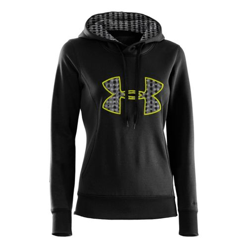 Womens Under Armour AF Storm Big Logo Warm-Up Hooded Jackets - Black/High Vis Yellow M ...