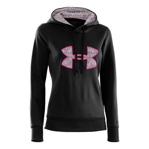 Womens Under Armour AF Storm Big Logo Warm-Up Hooded Jackets - Black/Pinkadelic M